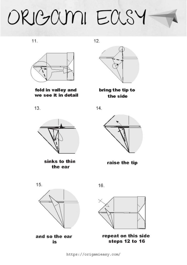 origami instructions   advanced origami bunny   Instruções origami ...   1024x724