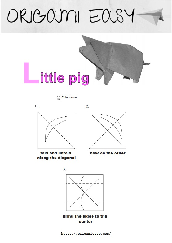 Step by step instructions how to make origami a pig.   785x555