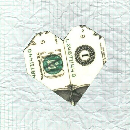 Money Origami Heart Ring Folded With Real One Dollar Bill Isolated ... | 500x500