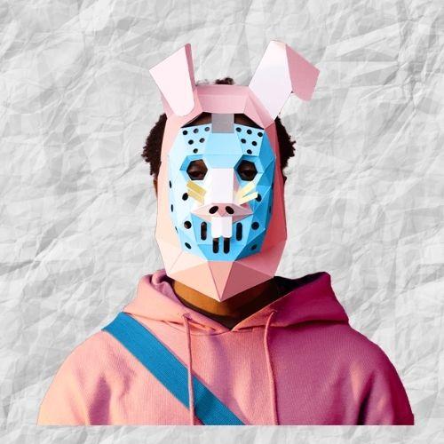 papercraft mask model fortnite rabbit raider